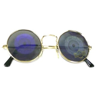 Round Hologram Eyeball Sunglasses with Gold Frames