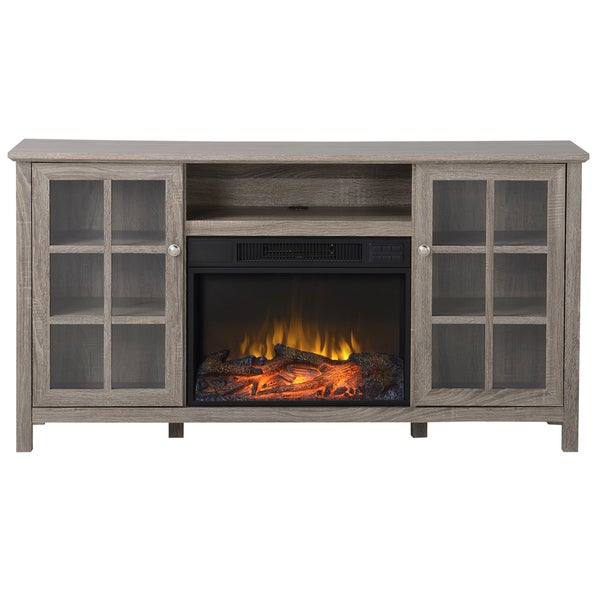 Provence 60-inch Wide Media Fireplace in Reclaimed Wood