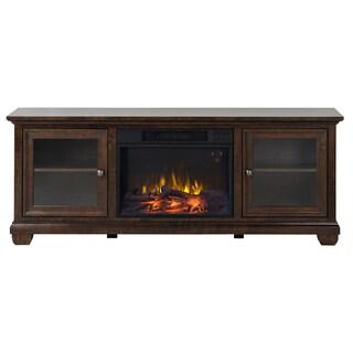 Verona 67-inch Wide Media Fireplace in Walnut
