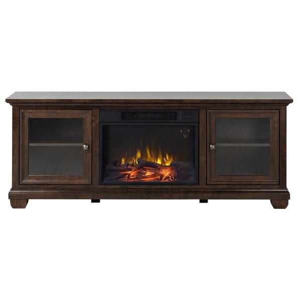 Verona 67 Inch Wide Media Fireplace In Walnut