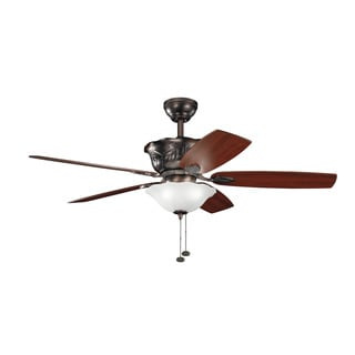 Kichler Lighting Tolkin Collection 52-inch Oiled Brushed Bronze Ceiling Fan with Light