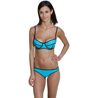 Bra Society Women's Aqua Trendy Adjustable Neoprene Style Bikini