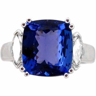 Kabella 18k White Gold Cushion-cut Tanzanite 5/8ct TDW Diamond Ring (G-H, SI1-SI2) (Size 6)