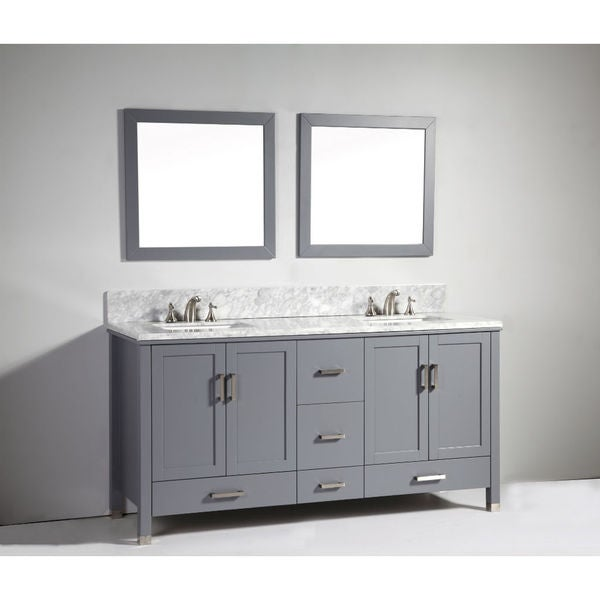 Legion furniture 72 inch dark grey solid wood double sink vanity with mirror 17511754 for Solid wood double sink bathroom vanity