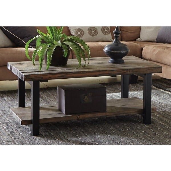 Reclaimed Wood And Metal Coffee Table: Alaterre Pomona Reclaimed Wood And Metal 42-inch Coffee