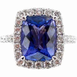 Kabella Luxe 18k White Gold Radiant-cut Tanzanite 3/4ct TDW Diamond Halo Ring (G-H, SI1-SI2) (Size 6.5)