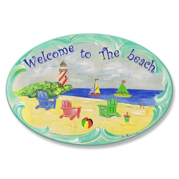 Welcome to the Beach Oval Wall Plaque