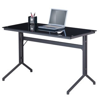 Merax Home Office Writing Desk, Glass Top, Black (CT-3360B)