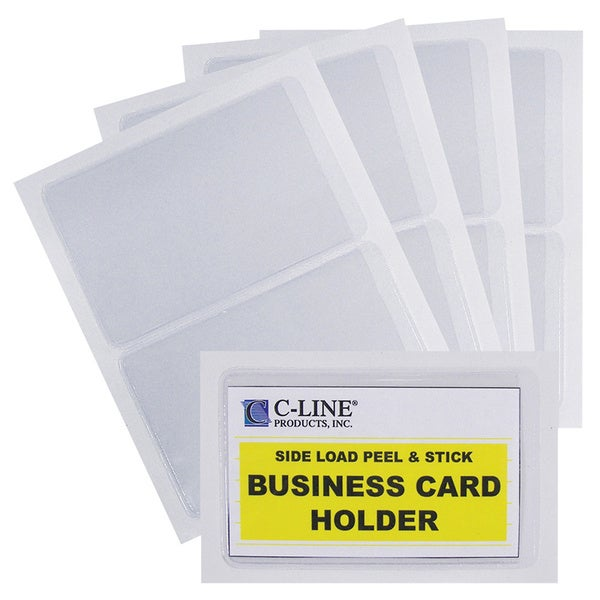 C-Line Products Self-Adhesive Business Card Holder, Side Load, 2 x 3-1/2, 10/PK (Set of 5 PK)