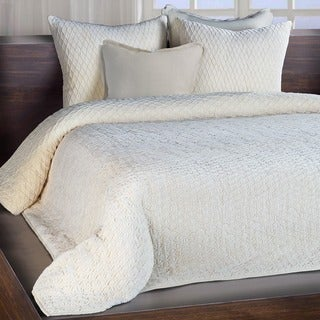 Lena Ivory Luxe Velvet European Stitched Quilt