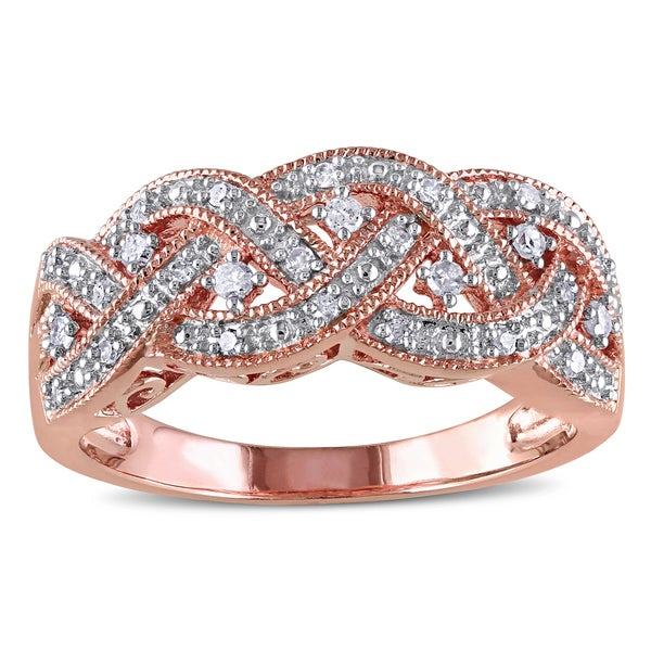 Haylee Jewels Rose Plated Silver 1/8ct TDW Diamond Ring (H-I, 12-I3)