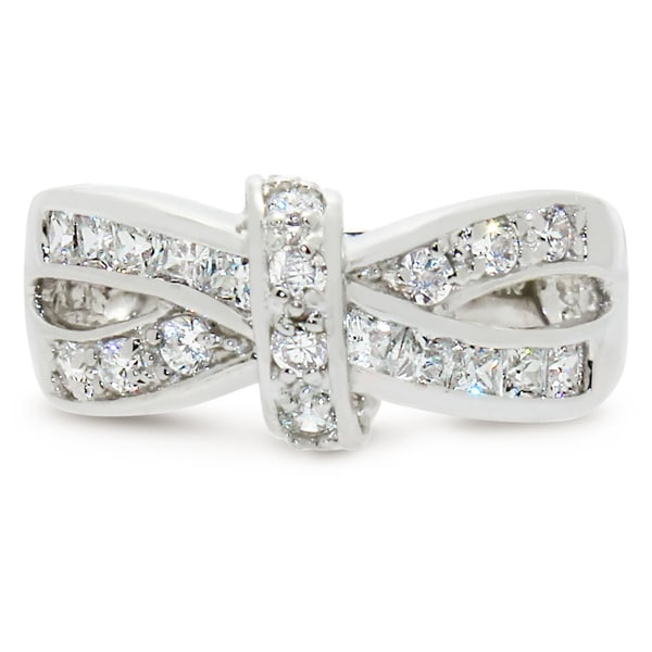 Gioelli Sterling Silver Cubic Zirconia Bow Ring