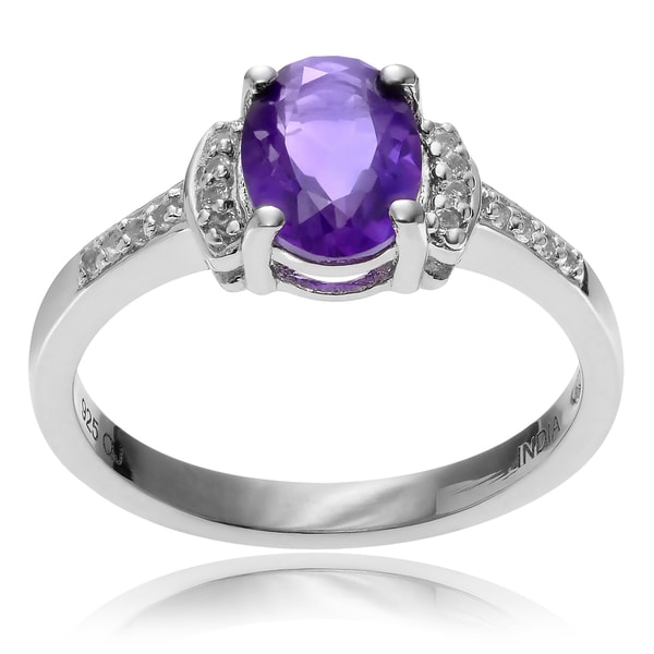Journee Collection Rhodium-plated Sterling Silver Oval Amethyst Topaz Ring