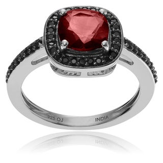 Journee Collection Sterling Silver Garnet Halo Ring