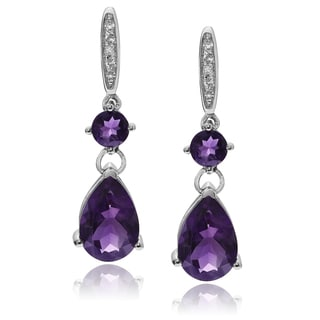 Journee Collection Rhodium-plated Sterling Silver Gemstone Dangle Earrings