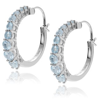 Journee Collection Sterling Silver Rhodium-plated Blue Topaz Hoop Earrings