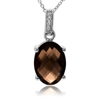Journee Collection Rhodium-plated Sterling Silver Topaz Oval Pendant