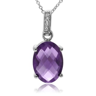 Journee Collection Sterling Silver Amethyst Topaz Pendant