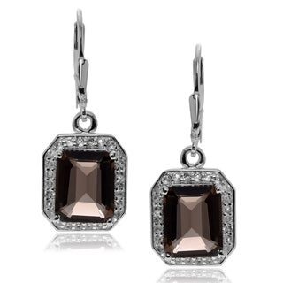 Journee Collection Rhodium-plated Sterling Silver Topaz Dangle Earrings