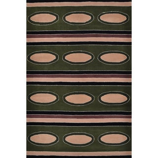 Circles and Stripes Tribal Wool Area Rug (5' x 8')