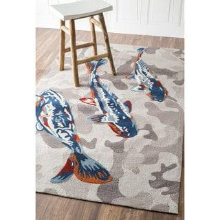 nuLOOM Handmade Nautical Koi Fish Grey/ Blue Rug (5' x 8')