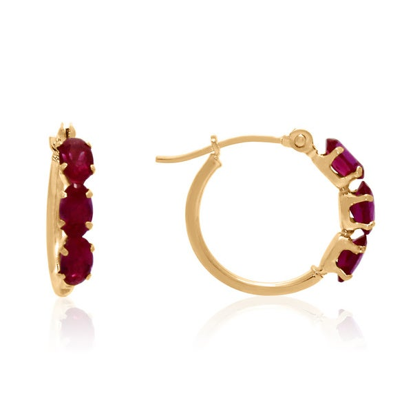 Gioelli 14k Gold Created Ruby Hoop Earring