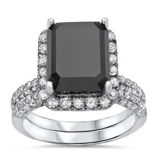 Noori 14k White Gold 6ct TDW Black Emerald-cut Diamond Bridal Ring Set