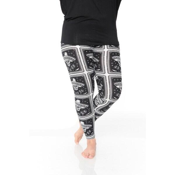 White Mark Women's Plus Size Printed Leggings
