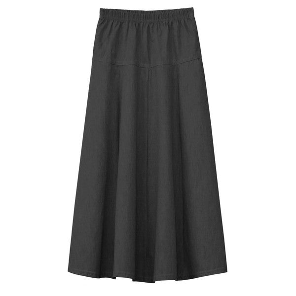 Baby'O Girl's Ultrasoft Lightweight Denim Fit and Flare A-Line Maxi Skirt