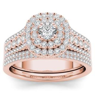 De Couer 10k Rose Gold 1ct TDW Diamond Double Halo Engagement Ring Set with One Band (H-I, I2)