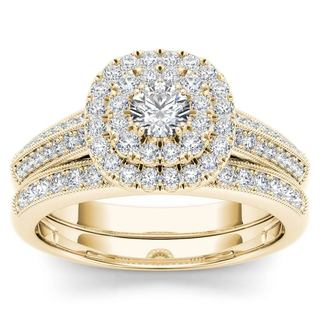 De Couer 10k Yellow Gold 7/8ct TDW Diamond Double Halo Engagement Ring Set with One Band (H-I, I2)