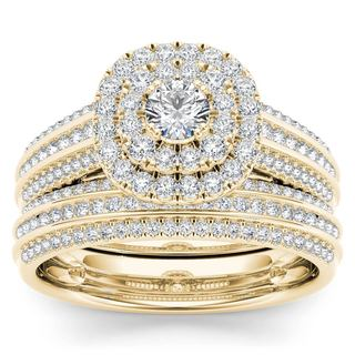 De Couer 10k Yellow Gold 1ct TDW Double Halo Diamond Bridal Set