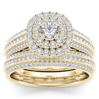 De Couer 10k Yellow Gold 1ct TDW Diamond Double Engagement Ring with One Band (H-I, i2)