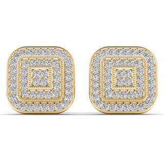 De Couer 10k Yellow Gold 1/5ct TDW Diamond Halo Earring (H-I, I2)