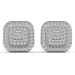De Couer 10k White Gold 1/5ct TDW Diamond Halo Earring (H-I, I2)
