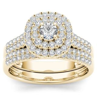 De Couer 10k Yellow Gold 1ct TDW Diamond Double Halo Engagement Ring Set with One Band (H-I, I2)