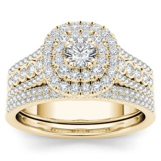 De Couer 10k Yellow Gold 1ct TDW Diamond Double Halo Engagement Ring Setwith One Band (H-I, I2)