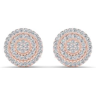 De Couer 10k Rose Gold 1/4ct TDW Diamond Halo Earring (H-I, I2)