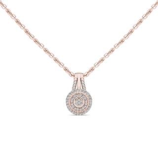 De Couer 10k Rose Gold 1/8ct TDW Diamond Halo Necklace (H-I, I2)