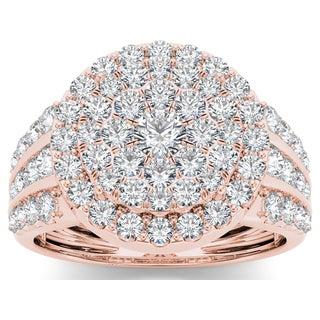 De Couer 10k Rose Gold 2ct TDW Diamond Cluster Ring (H-I, I2)