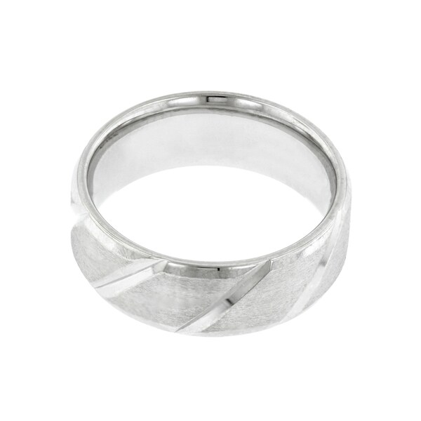 14k White Gold Men's Bevel Edge Wedding Band