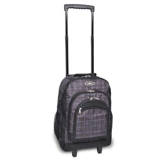 Everest 18-inch Grey and Black Plaid Rolling Backpack
