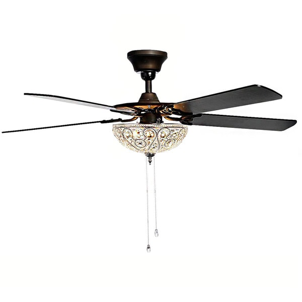 Catalina 3-light Bronze-finished 5-blade 48-inch Crystal Ceiling Fan - 17512838 - Overstock.com ...