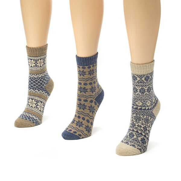 Muk Luks Women's 3-pair Holiday Crew Sock Pack