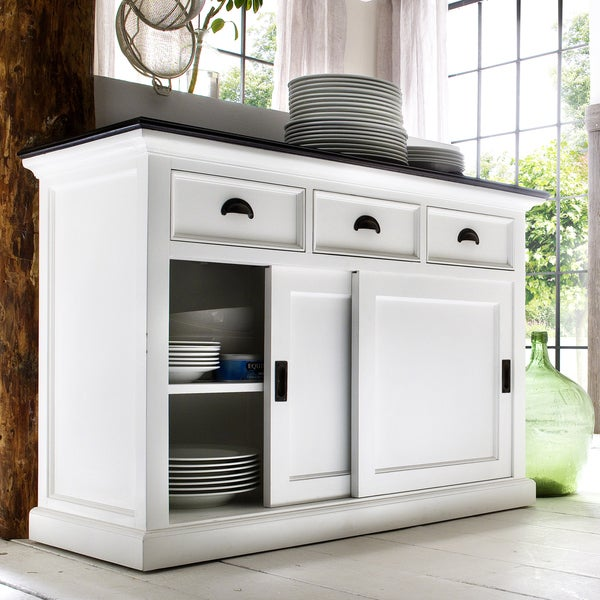 Interior White Distressed Buffet with Black Top