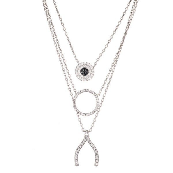 Lesa Michelle Sterling Silver Simulated Diamond Evil Eye, Circle and Wishbone Layered Necklace