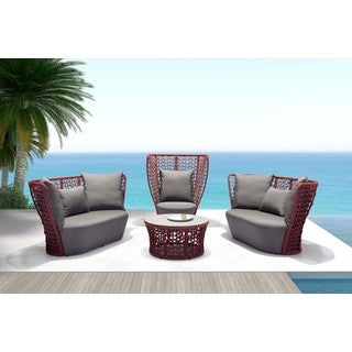 Faye Bay Cranberry and Grey Beach Chair
