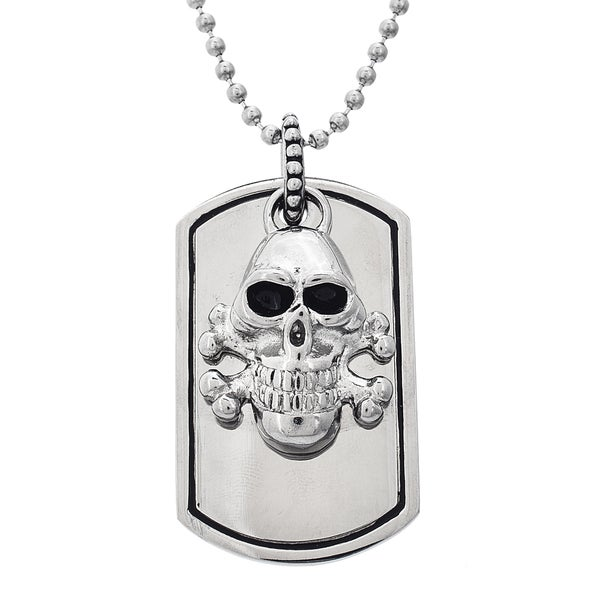 Reinforcements Stainless Steel Men's Skull Dogtag Necklace