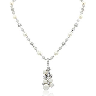 Gioelli Sterling Silver Freshwater Pearl Cluster Cubic Zirconia Necklace (5-6mm)