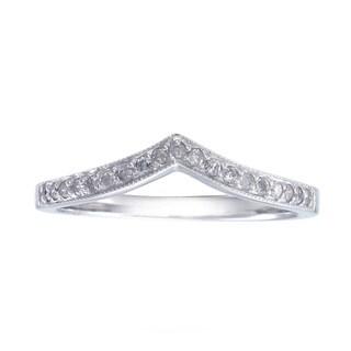 14k White Gold 1/5ct TDW Diamond V-Shape Milligrain Wedding Band (G-H, I1-I2)